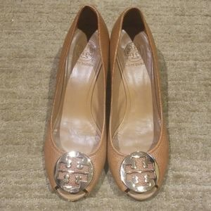 Tan Leather Tory Burch Wedges with Gold Logo